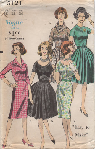 1960's Vogue Shirtwaist Dress with Pleated or Sheath Skirt and 5 Necklines - Bust 32