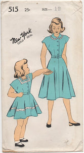 "1940's New York One Piece Shirtwaist Dress with Cap Sleeves and Peter Pan Collar - Chest 30"" - # 515"