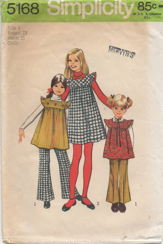 1970's Simplicity Child's One Piece Dress or Tunic with Ruffle Sleeves and Bell Bottom pants - Size 4 - No. 5168