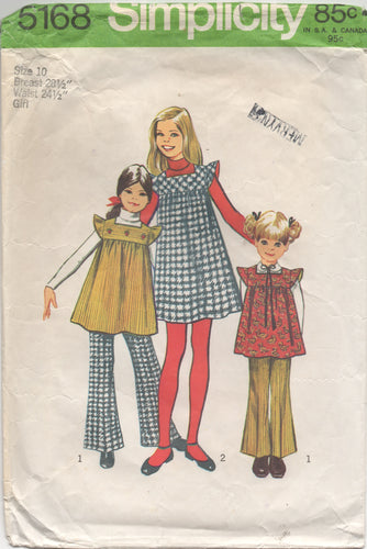 1970's Simplicity Child's One Piece Dress or Tunic with Ruffle Sleeves and Bell Bottom pants - Size 10 - No. 5168
