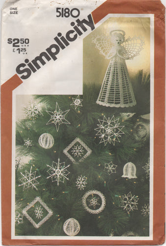 1980's Simplicity Crocheted Christmas Ornaments and Tree Top - One Size - No. 5180