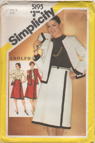 1980's Simplicity Blouse with Ascot, A line Skirt, Boxy Jacket and Purse - Bust 32.5
