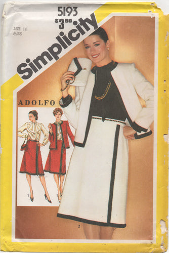 1980's Simplicity Blouse with Ascot, A line Skirt, Boxy Jacket and Purse - Bust 36