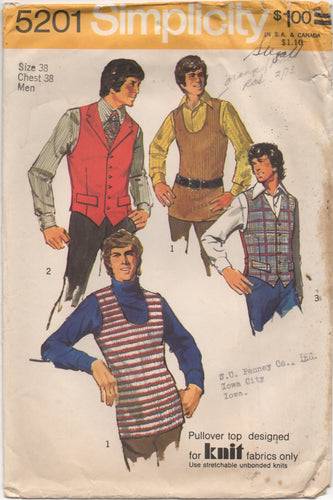 1970's Simplicity Men's Vest in Two Style Pattern - Chest 38