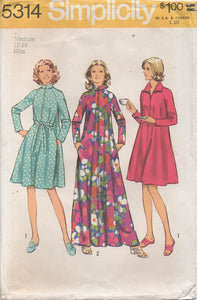 "1970's Simplicity Robe in Two Length with Tie waist - Bust 34-36"" - No. 5314"