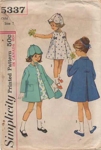 1960's Simplicity Child's A line Dress, Coat and Petal hat - Size 1 - No. 5337
