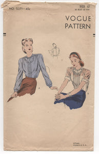 "1940's Vogue Blouse with High Collarless, Bound Neckline and Double Bib - Bust 30"" - No. 5371"