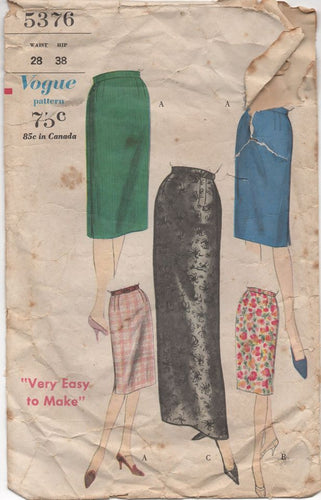 1960's Vogue Slim skirt in Two Lengths - Waist 28