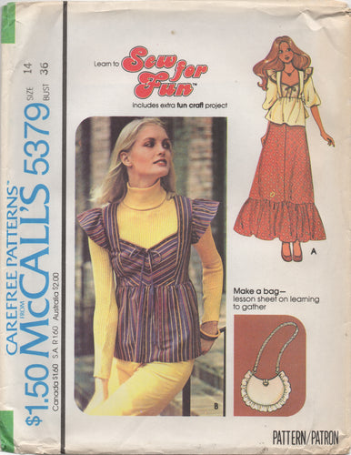1970's McCall's Blouse with Ruffle or Elbow Sleeve, Skirt with Ruffle and Purse pattern- Bust 36