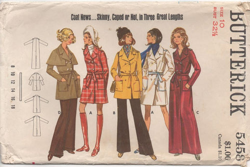 1960's Butterick Slim-fit Coat in Three Lengths - Bust 32.5