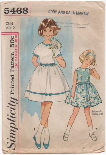 1960's Simplicity Child's One Piece Dress with Short or no sleeves & Full skirt - Breast 23.5
