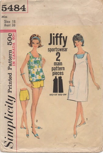 1960's Simplicity Jiffy Top, Dress with Pocket and Shorts - Bust 38