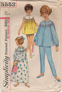 "1960's Simplicity Child's Nightgown and Bloomers or Two Piece Pajamas - Breast 28"" - No. 5552"