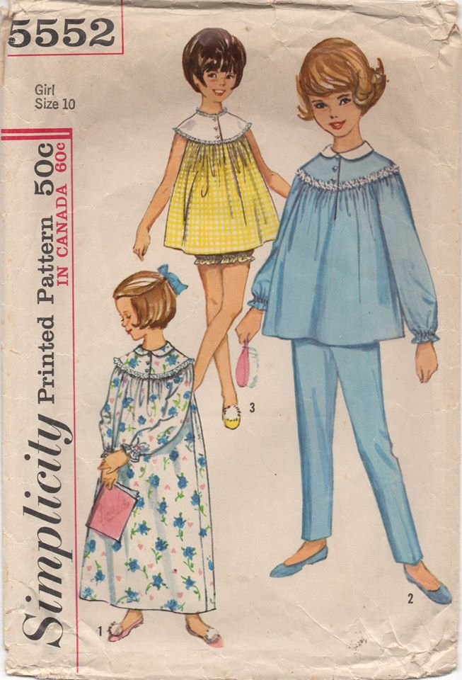 1960's Simplicity Child's Nightgown and Bloomers or Two Piece Pajamas - Breast 28
