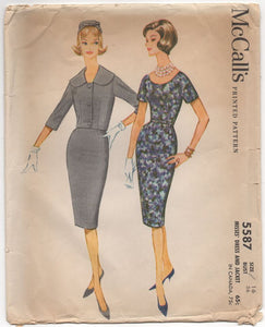 "1960's McCall's Jacket with wide collar and Wiggle Dress - Bust 36"" - No. 5587"