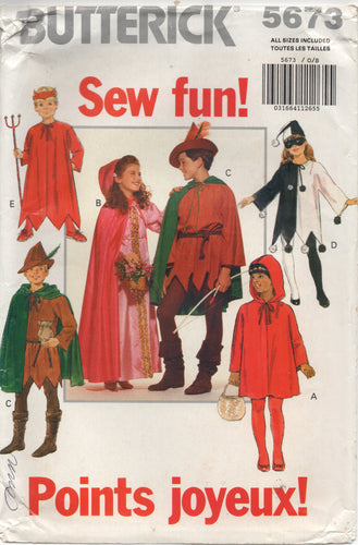 1990's Butterick Child's Jester, Devil, Robin Hood, Maid Marion, Little Red Riding Hood - Size 4-14 - No. 5673