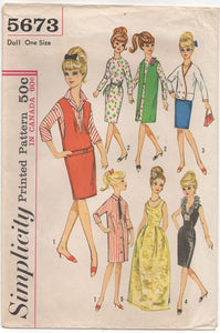 "1960's Simplicity 11.5"" Doll Dress Wardrobe Pattern (Barbie, Midge, Annette, Mitzie) - No. 5673"
