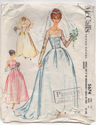 1960's McCall's Bride or Bridemaid's Gown with Two Sleeve lengths and Four Skirt Styles- B.34