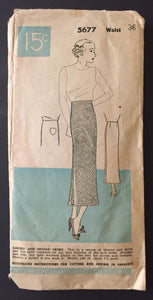 1930's Woman's World Slim Skirt - No. 5677