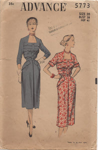 "1950's Advance One Piece Dress with Applied Band Details on bodice and Pockets - Bust 38"" - No. 5773"