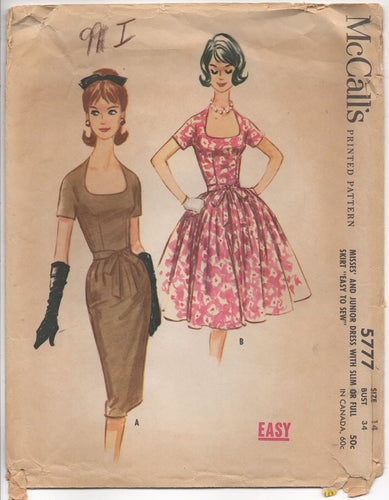 1960's McCall's One Piece Slim or Full Skirt Dress with Deep Scoop Neckline - Bust 34