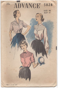 "1950's Advance Blouse with Tucked Yoke and Two Sleeve lengths - Bust 34"" - No. 5828"