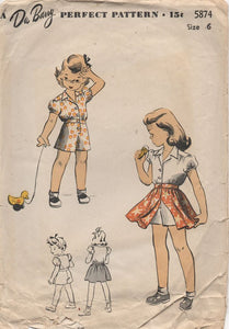 "1940's DuBarry Child's Romper and Overskirt - Chest 24"" - No. 5874"