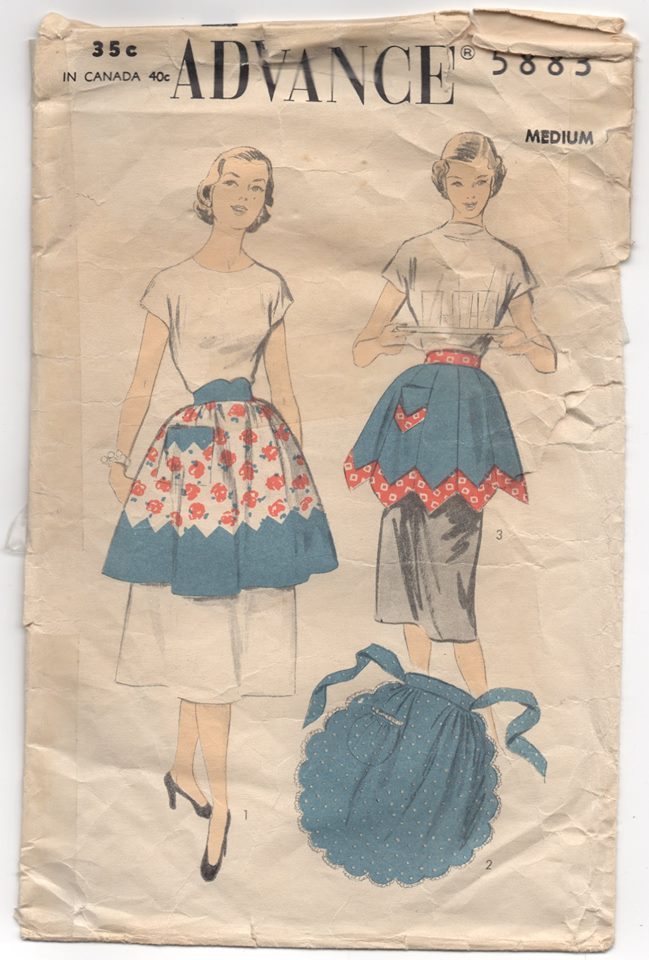 1950's Advance Half Apron in Three Styles - Waist 28-30 - No. 5883