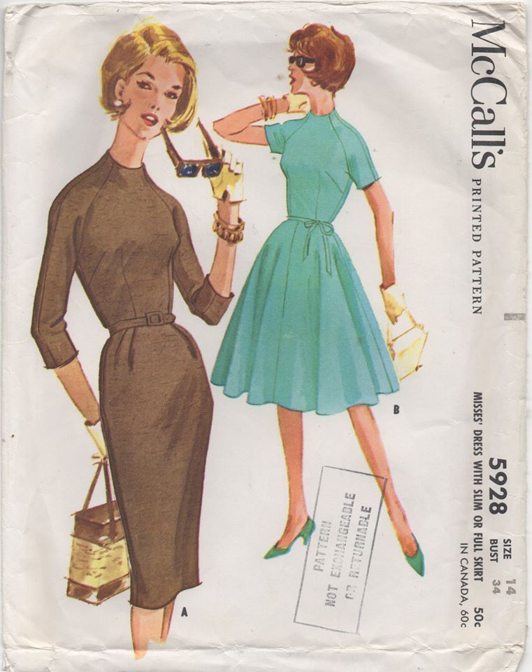 1960's McCall's One Piece Dress with Raglan Sleeve and Two Skirt Styles - Bust 34