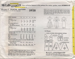 "1960's McCall's One Piece Dress with Raglan Sleeve and Two Skirt Styles - Bust 34"" - No. 5928"
