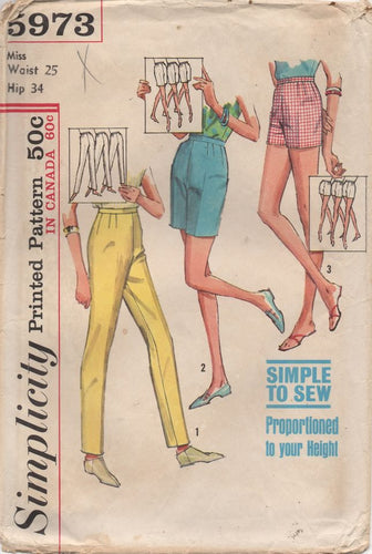 1960's Simplicity Cigarette Pants, Jamaica Shorts and Shorts - Waist 25