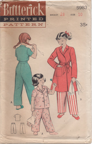 1950's Advance Child's Two Piece Pajamas and Robe - Chest 28