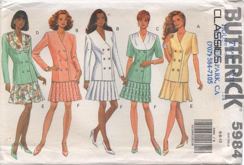 1990's Butterick Double Breasted Top and Pleated Skirt Pattern - Bust 30.5-31.5-32.5