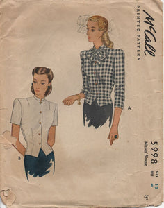 "1940's McCall Blouse with Button Front and Bow at Neck - Bust 30"" - No. 5998"