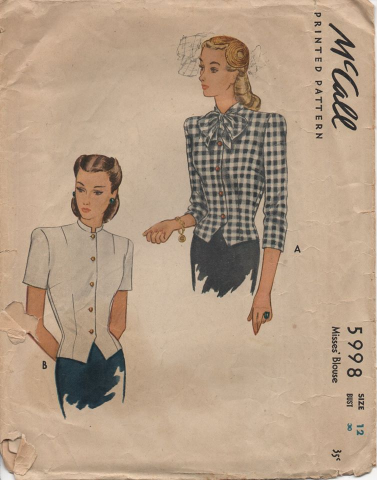 1940's McCall Blouse with Button Front and Bow at Neck - Bust 30