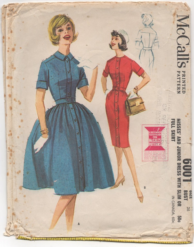 1950's McCall's One Piece Dress with Full or Slim Skirt Pattern - Bust 36