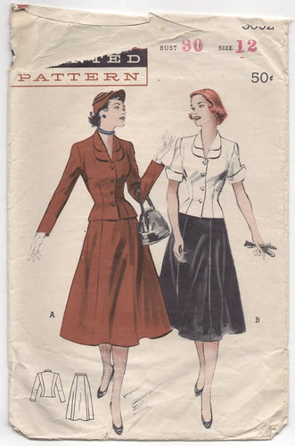 1950's Butterick Two Piece Suit Dress with Double Collar - Bust 30