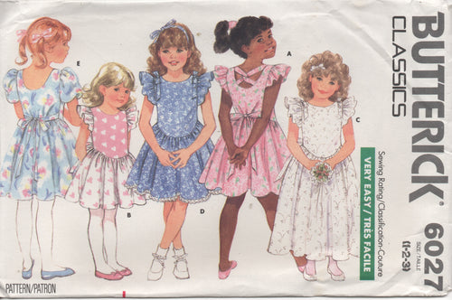 1980's Butterick Child's One Piece Dress drop scoop waist and Ruffle sleeve - Size 1-2-3 - No. 6027