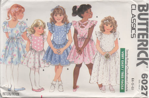 1980's Butterick Child's One Piece Dress drop scoop waist and Ruffle sleeve - Size 4-5-6 - No. 6027