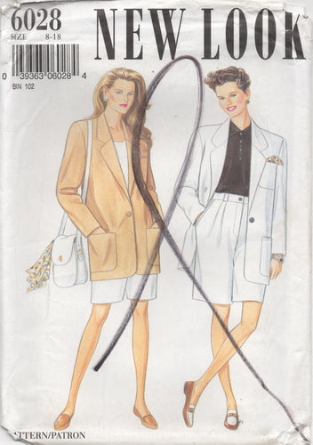 1990's New Look Blazer and High Waisted Shorts pattern - Bust 31.5-32.5-34-36-38-40