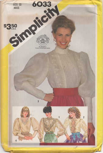 1980's Simplicity Pin Tuck Blouse or Lace Front Blouse with Long Cuff Sleeve - Bust 34