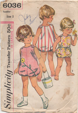 1960's Simplicity Toddler Romper or Sunsuit - Size 2 - No. 6036