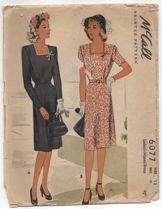 "1940's McCall's One Piece Dress with Square neckline and eight-gore skirt - Bust 30"" - No. 6077"