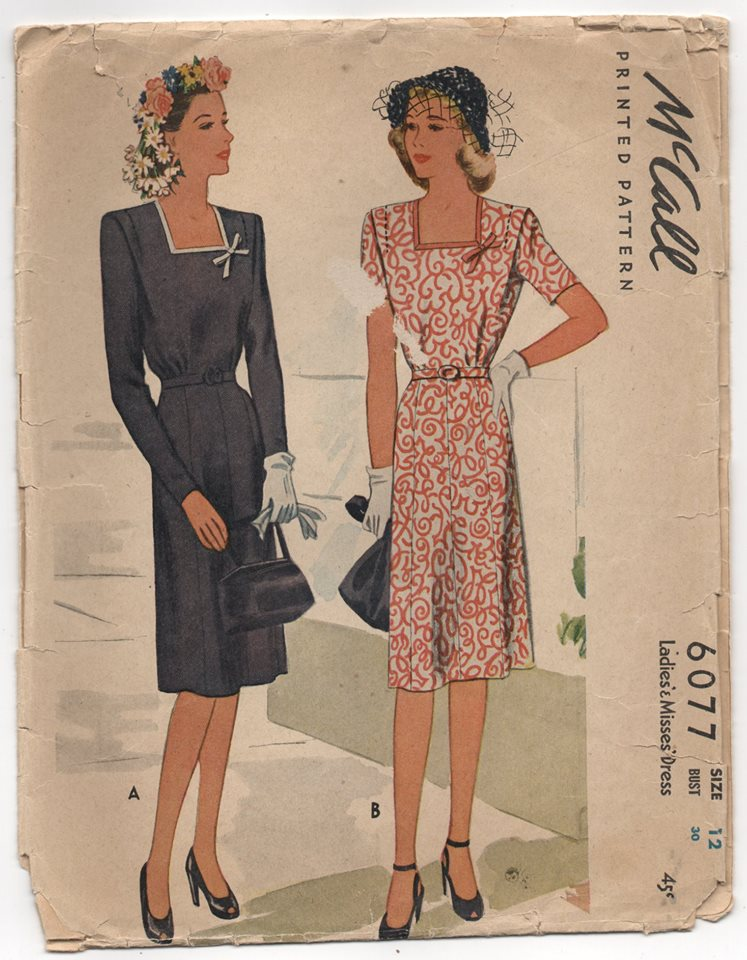 1940's McCall's One Piece Dress with Square neckline and eight-gore skirt - Bust 30
