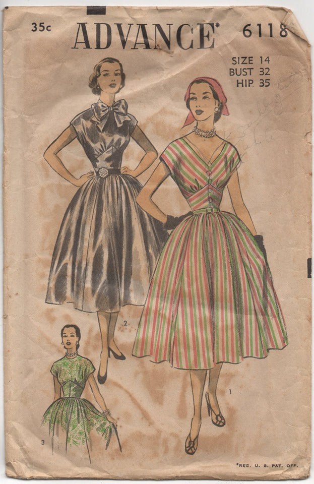 1950's Advance One Piece Dress with Two Necklines and Bow detail pattern - Bust 32