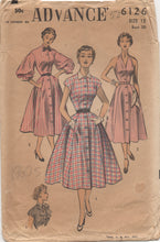"1950's Advance Halter Dress with Button Up Bodice in Two Styles and optional Bishop Sleeves Pattern - Bust 30"" - No. 6126"