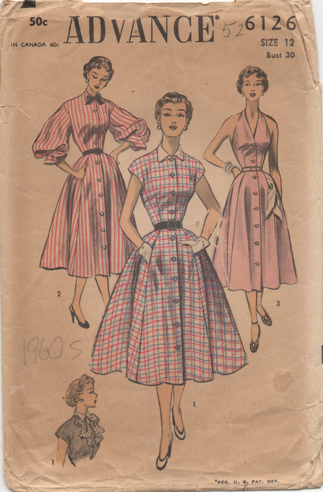 1950's Advance Halter Dress with Button Up Bodice in Two Styles and optional Bishop Sleeves Pattern - Bust 30