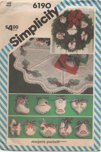 1980's Simplicity Shadow Quilted Christmas Ornaments and Tree Skirt - No. 6190