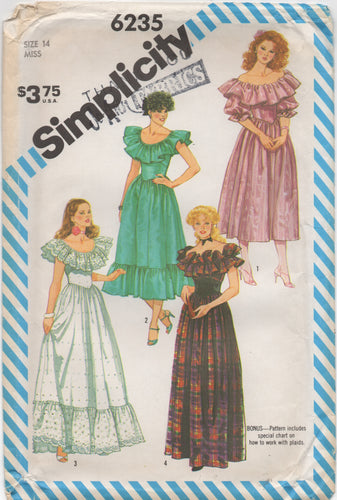1980's Simplicity Prairie Dress in Two Lengths with Ruffle Collar - Bust 36