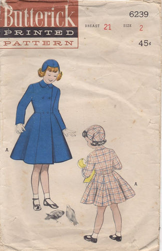 1950's Butterick Child's Fitted Coat and Hat - Chest: 21